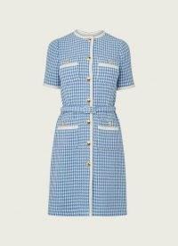 L.K. BENNETT VALENTINA BLUE AND CREAM HOUNDSTOOTH TWEED DRESS ~ vintage style dresses