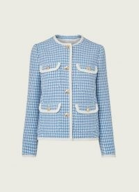 L.K. BENNETT VALENTINA BLUE AND CREAM HOUNDSTOOTH TWEED JACKET ~ classic textured dogtooth jackets