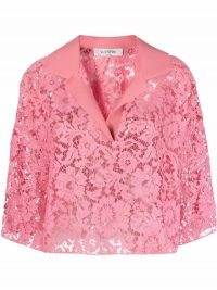 Valentino pink lace cropped blouse / semi sheer floral crop hem blouses