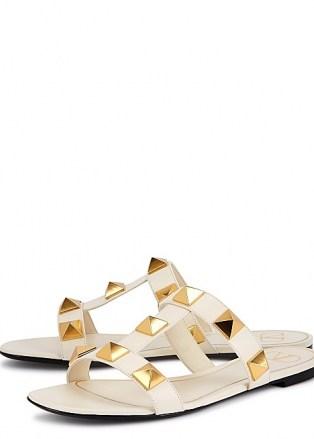 VALENTINO Valentino Garavani Roman Stud leather sliders | glamorous luxe studded slides | women's summer flats - flipped