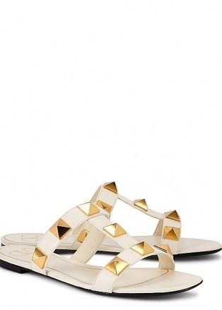 VALENTINO Valentino Garavani Roman Stud leather sliders | glamorous luxe studded slides | women's summer flats