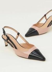 L.K. BENNETT VERONICA PINK AND BLACK LEATHER SLINGBACKS ~ vintage style slingback kitten heels ~ colour block courts
