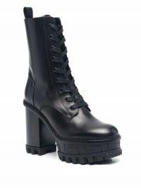 Versace Greca platform boots   women's black chunky retro boot   vintage style footwear