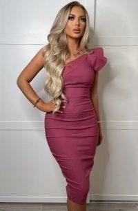Vesper Anamarie Rose Midi Dress ~ pink one shoulder dresses