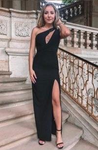 Vesper Julianna Black One Shoulder Split Maxi Dress ~ front cut-out evening dresses with thigh high split ~ asymmetric occasion fashion