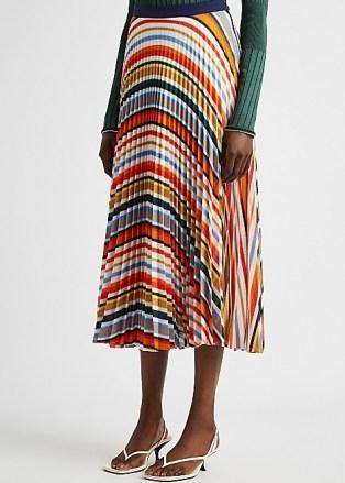 VICTORIA, VICTORIA BECKHAM Striped pleated fine-knit midi skirt ~ multicoloured skirts - flipped