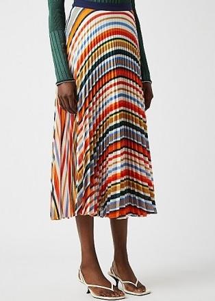 VICTORIA, VICTORIA BECKHAM Striped pleated fine-knit midi skirt ~ multicoloured skirts
