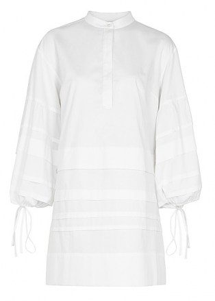 VICTORIA, VICTORIA BECKHAM White pleated cotton dress ~ chic relaxed fit shirt dresses - flipped