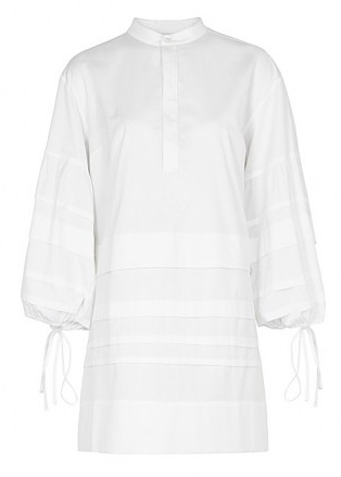VICTORIA, VICTORIA BECKHAM White pleated cotton dress ~ chic relaxed fit shirt dresses