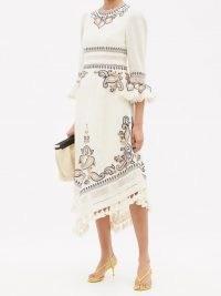 ZIMMERMANN Aliane paisley-embroidered linen-canvas dress / chic tassel trim boho style dresses
