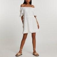 River Island White broderie bardot mini dress | womens off the shoulder frill hem dresses | women's summer fashion