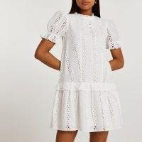 River Island White broderie frill mini dress | womens romantic style summer fashion | women's cotton puff sleeve dresses | frill trim