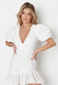 Missguided white broderie puff sleeve mini dress | women's romantic style summer dresses | womens ruched fashion | on trend clothing