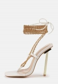 Missguided white chain tie up toe post heeled sandals | women's going out high heels | ankle wrap party shoes | womens evening footwear