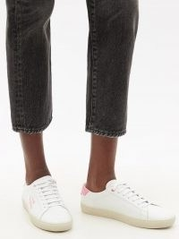 SAINT LAURENT Court logo-embroidered white leather trainers with pink accents | womens sports luxe footwear