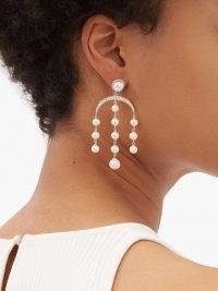MATEO Crescent Moon diamond, pearl & 14kt gold earrings ~ beautiful chandelier statement drops ~ womens fine luxe jewellery