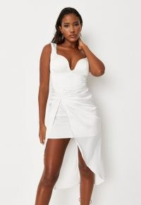 Missguided white cupped ruched front satin mini dress | asymmetric evening dresses
