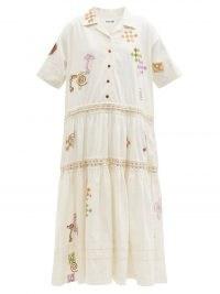 STORY MFG. Eden Spiral Trip-print organic-cotton blend dress ~ embroidered linen blend shirt dresses ~ womens summer clothing