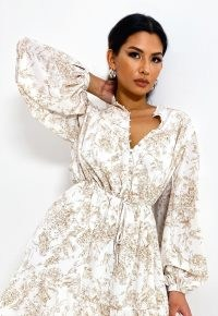 MISSGUIDED white floral print button front a line dress / volume sleeve tie waist dresses