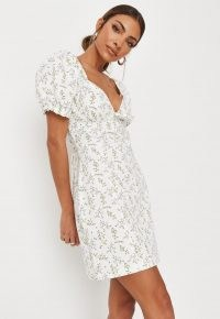Missguided white floral print milkmaid denim mini dress | women's plunge front day dresses