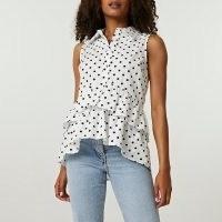 RIVER ISLAND White frill layered smock shirt / sleeveless spot print shirt collar top