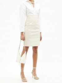 GIVENCHY 4G-embossed cutout leather pencil skirt – luxe cream skirts – women's luxury fashion