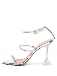 AMINA MUADDI Gilda crystal-embellished clear PVC and silver leather sandals | luxe party heels | high octane evening glamour