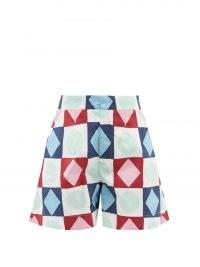 LA DOUBLEJ Good Butt geometric-print cotton-poplin shorts   women's retro clothing   womens vintage style prints   summer fashion   high waist printed short