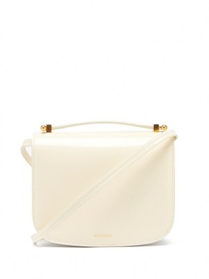 JIL SANDER Logo-embossed leather shoulder bag ~ small white luxe top handle handbags - flipped