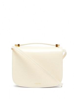 JIL SANDER Logo-embossed leather shoulder bag ~ small white luxe top handle handbags