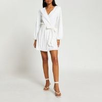 RIVER ISLAND White long sleeve sequin wrap dress ~ womens sequinned occasionwear ~ women's party dresses ~ evening glamour