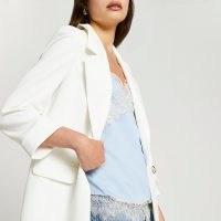 RIVER ISLAND White long soft blazer ~ women's open front summer blazers