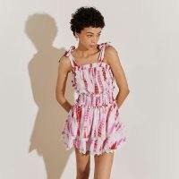 RIVER ISLAND White pink tie dye beach playsuit / women's shoulder strap summer playsuits / beachwear