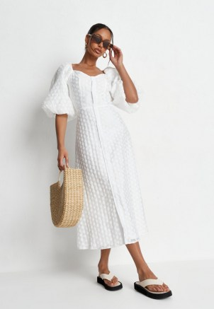 Missguided white polka dot organza puff sleeve midi dress   volume sleeved dresses - flipped
