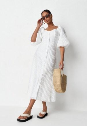 Missguided white polka dot organza puff sleeve midi dress   volume sleeved dresses
