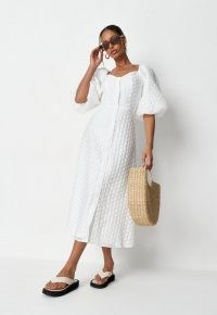 Missguided white polka dot organza puff sleeve midi dress | volume sleeved summer dresses