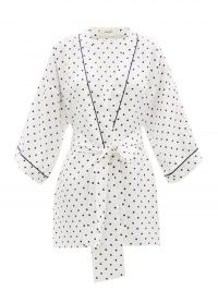 RODARTE Polka-dot silk-satin robe / women's white spot print robes / nightwear inspired jackets