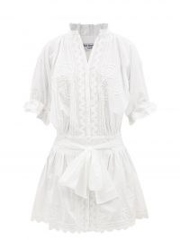 JULIET DUNN Ric rac-trimmed cotton mini shirt dress   womens romantic white summer dresses