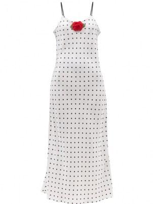 RODARTE Rose-embellished polka-dot silk slip dress / white and black spot print cami dresses