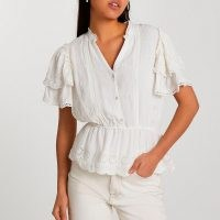 RIVER ISLAND White short frill sleeve broderie top | tiered sleeve peplum tops