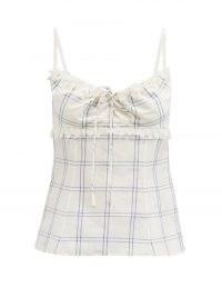 BROCK COLLECTION Siria windowpane-check linen-blend top / women's checked cami strap tops