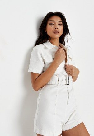 Missguided white stretch denim zip though playsuit | belted utility playsuits - flipped