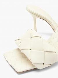 BOTTEGA VENETA The Lido Intrecciato leather sandals in cream white / woven square toe mules / weave detail mule sandal / womens luxe footwear / glamorous high heels