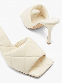 BOTTEGA VENETA The Lido Intrecciato-debossed ivory leather mules – luxe padded squared off sandals – womens glamorous high heels