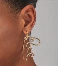 Tory Burch WIRE LOGO HOOP EARRING ~ contemporary longline statement earrings ~ womens jewellery