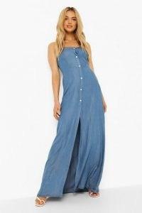 boohoo Button Front Split Denim Maxi Dress | skinny strap smocked back dresses | blue light wash denim fashion | womens summer clothing