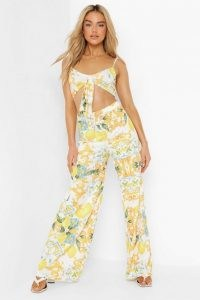 boohoo Lemon Print Tie Front And Wide Leg Co Ord | strappy crop top and trouser set | summer fruit prints | womens clothing co ords | women's tops and trousers clothing sets