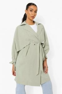 boohoo Oversized Belted Trench Coat | sage green tie waist coats | womens outerwear