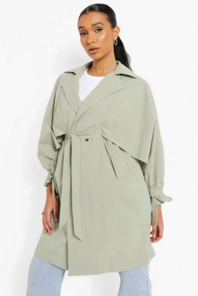 boohoo Oversized Belted Trench Coat | sage green tie waist coats | womens outerwear - flipped