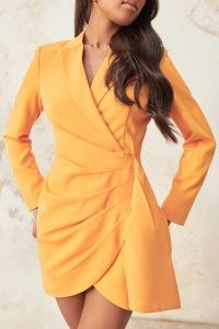 LAVISH ALICE wrap blazer dress in orange / bright tailored jacket dresses